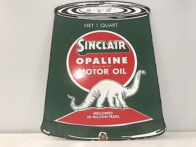 Vintage Sinclair Motor Oil Can Porcelain Sign Thick Steel Gas Station Pump Plate