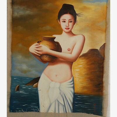 """Hand-painted Oil Painting On Canvas - Half Naked Beauty 43""""x27"""" DYH0019"""