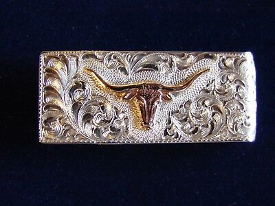 RH Sterling Silver Fully Hand Engraved Texas Long Horn Money Clip, Made in USA