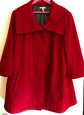 OLD NAVY Wood Blend Hidden Buttons 3/4 Sleeve Coat Jacket-Maternity-RED-XXL (2X)