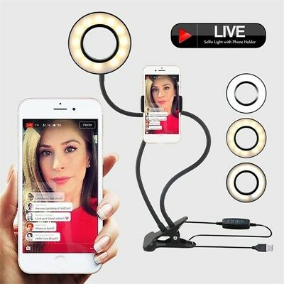 Selfie Ring Light Phone Holder Live Stream and Makeup For iPhone Android Phone