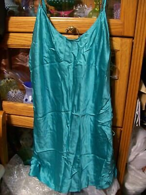 Vintage Brand New Victorias Secret Large Teal Silk Nightgown Top Sleepwear Laces