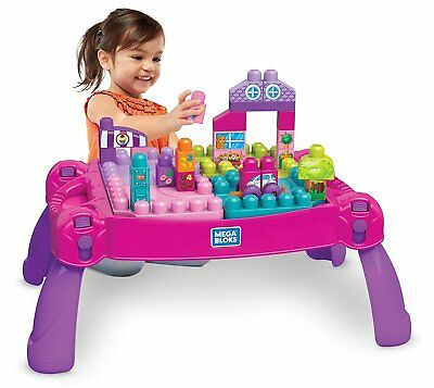 NEW MEGA Bloks Build N' Learn Table, Pink Girl Kids Toys Gifts Birthday Present