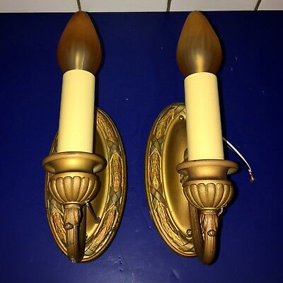 Pair of 1920's brass original finish sconces with rare pull chain sockets 46A