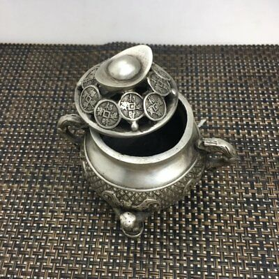 chinese Old copper plating silver 3 child bat yuanbao copper coin censer d02