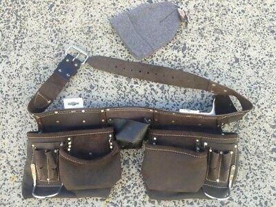TOOL belt real leather +FREEhat TOOL holder full grain leather NAILbag HOLDtools
