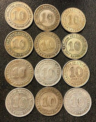 Old Malaya/Straits Settlements Coin Lot - 12 SILVER COINS - 1918-1939 - Lot #616