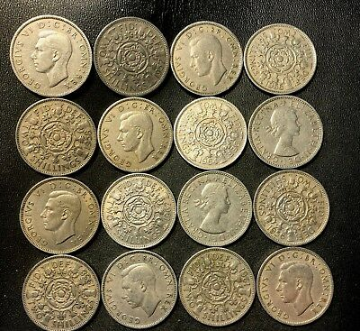 Vintage Great Britain Coin Lot - 16 EXCELLENT FLORINS - Lot #616