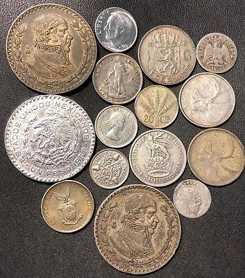 Vintage WORLD Silver Coin Lot - 1850-1967 - 15 Silver Coins - Lot #616