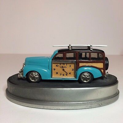 Fossil Limited Edition Timepiece Desk Clock ML2085 - Woody / Surf - Blue Car