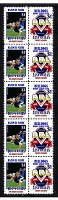 Centenary Of Rugby League Strip Of 10 Mint Stamps, Canterbury Bulldogs, El Masri