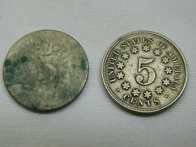 1867 5C No Rays Shield Nickel and one addition shield coin date unreadable, L#67