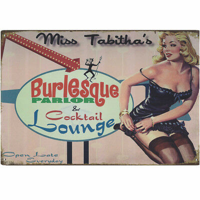 Retro Blechschild Miss Tabitha´s Burlesque Nostalgie Metallschild Pin Up Erotik