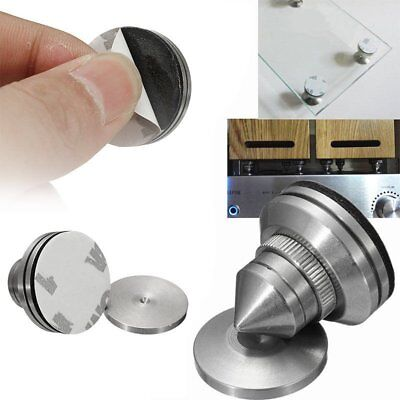 Stainless Steel Speaker Spike + Pad Base Amplifier Isolation Cone Stand Feet 4X