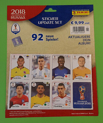 Panini WM 2018 Russia World Cup Update Sticker Set Multipack mit 92 neue Spieler