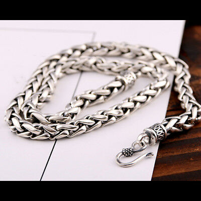"Real Solid 925 Sterling Silver Necklace Braided Chain Men 20"" 26"""