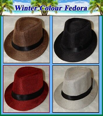 WINTER Colour FEDORA HAT Womens Mens TRILBY Birthday Dance Party Race Day NEW