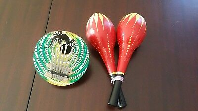 Kalimba Finger Piano Coconut Instrument & 2 Maracas. Awesome little lot!