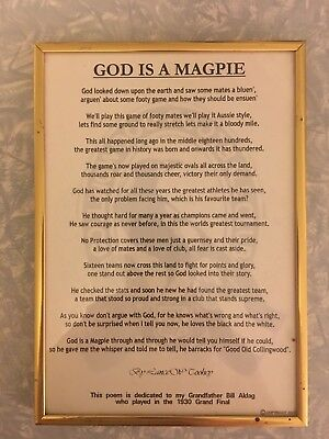 """Life is a Magpie"" framed poem - Collingwood Football Club"