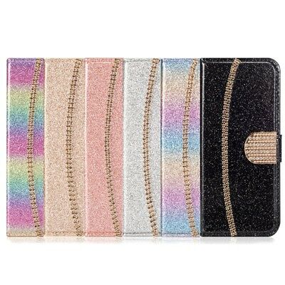 Flip Bling Glitter Magnetic PU Leather Case Wallet Cover For iPhone X/7 8 Plus/6