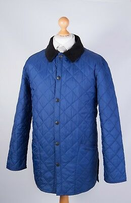 Barbour Men's Quilted Liddesdale Blue Jacket Size M Medium Black Collar Casual