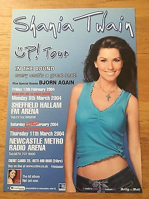 SHANIA TWAIN - 1 x 2004 UK TOUR FLYER FOR SHEFFIELD & NEWCASTLE ARENA (SIZE A5)