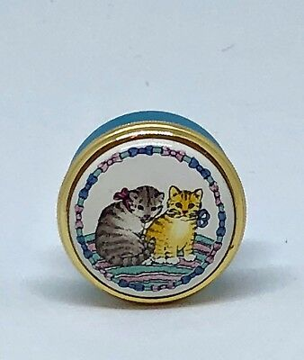 "Halcyon Days England Trinket Box Kittens Tiny Adorable 1"" Cat Lover"