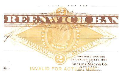 ** RARE ** RN-G1 Revenue SPECIMEN 1880's, Greenwich Bank , NY,