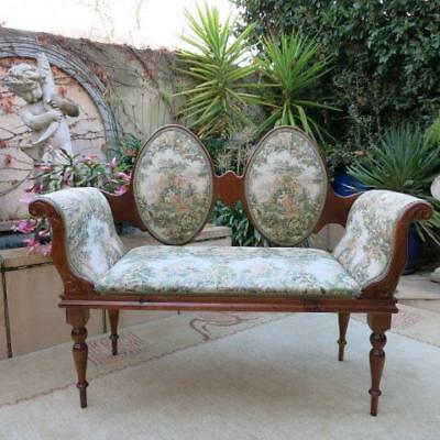 French Provincial Louis Xv Tapestry Double Love Seat, Bedroom Arm Chair Vintage