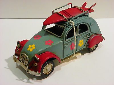 CAR VINTAGE TIN ANTIQUE HANDMADE TOY ART  6.3'' COLLECTIBLE SURFER DECOR bluee