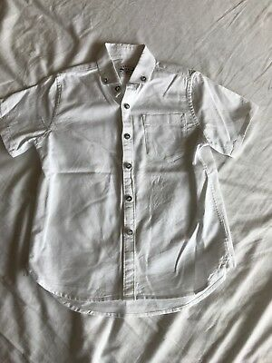 Next Boys White Linen Shirt Age 5 Years Short Sleeve Spring Summer Top worn once