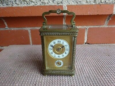 Victorian Brass Carriage Clock Masked Dial Alarm