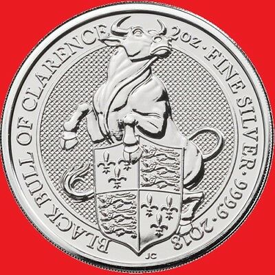 2018 2oz Silver Queens Beasts Black Bull of Clarence 2 Ounce Bullion Coin