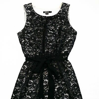 Dkny Womens Layered Black Tulle On White Dress Size S 1094