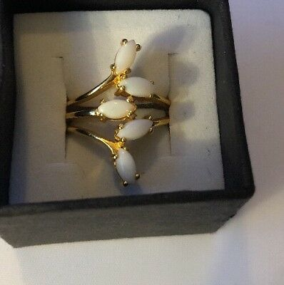 Stunning Ring Size 6.5 18 K Gold Plated Vintage Estate Jewelry