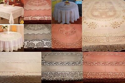 100% Pvc Vinyl White Red Vintage Lace Embossed Floral Plastic Table Cloth Party