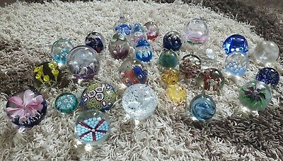 Job Lot of Glass Paperweights old rare paper weight