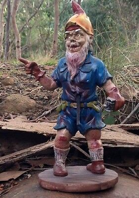 "NEW Large Resin Zombie Garden Gnome - ""Carter the Carpenter"""