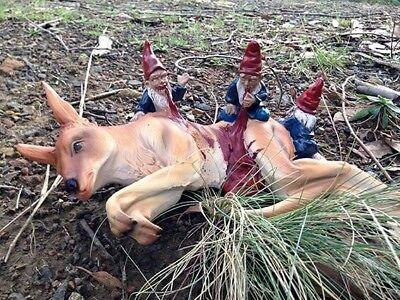"NEW Large Resin Zombie Garden Gnome - ""Dinner For Three"" Kangaroo Horror Gift"