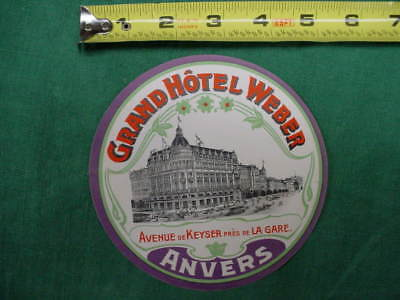 Early 20Th Century Luggage Label 4 Steamer Trunk  Grand Hotel Weber Anvers