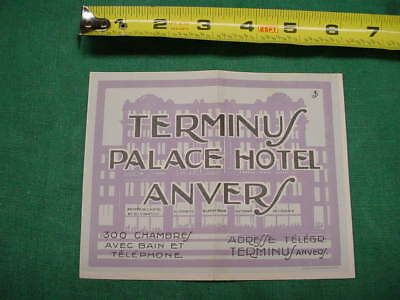 Early 20Th Century Luggage Label 4 Steamer Trunk  Terminus Palace Hotel Anvers