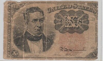 1874 Ten Cent 10c Fractional Currency Note-CIRCULATED-