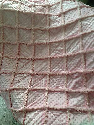ALL PINK RAG QUILT/Chenille blanket/rag quilt/Adult Size / Lap/pink