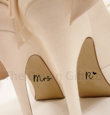Personalised Wedding Shoe Stickers Mrs Intial Pink Blue White Blk Something Blue