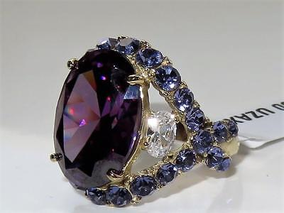 2160 Amethyst Oval Simulated Diamond Ring Women Cocktail Showstopper Gold Purple
