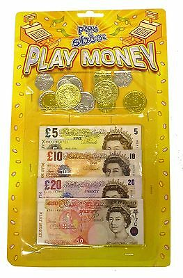 Childrens Kids Toy Pretend Fake Money ££ Cash Notes Coins Role Play Toy T09378