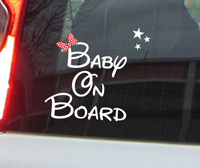 Disney Baby On Board Sticker Decal Window Sticker Stars Minnie Or Mickey