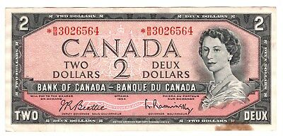 1954 Bank of Canada $2 STAR NOTE B/B 3026564 Nice except….