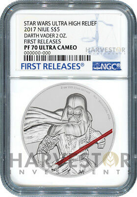 Star Wars Darth Vader Ultra High Relief - 2 Oz. Coin - Ngc Pf70 First Releases