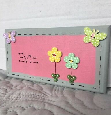 Wooden Name Plaque For Girl Bedroom Door Wall Or Toy Box Decoration personalise
